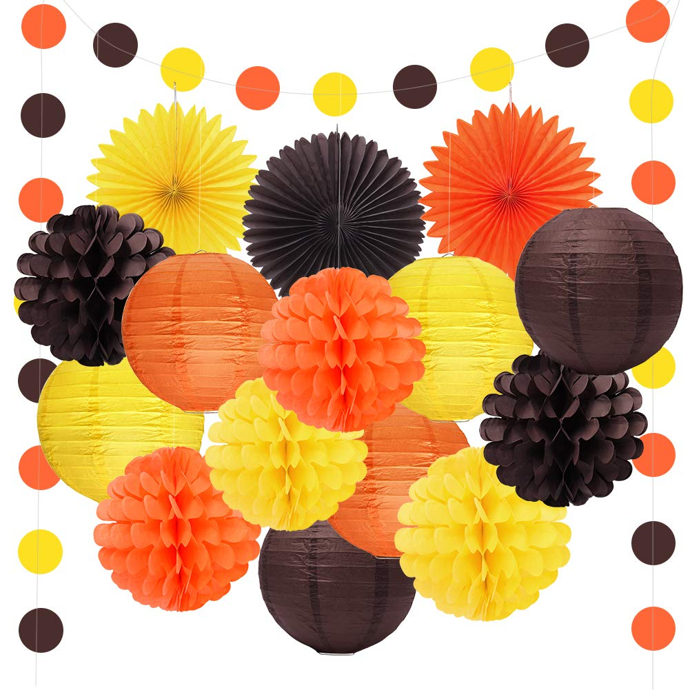 Happy Fall Thanksgiving Day Party Decorations Orange Yellow Brown Lanterns Paper Tissue Pom Poms Paper Fans For Autumn Harvest Birthday Happy Fall Party Supplies by Threemart
