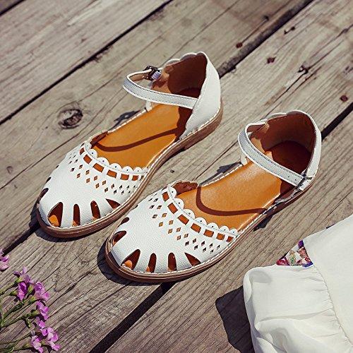 Las mujeres los zapatos de cuero verano Sandalia Tacón,35 Rosa White