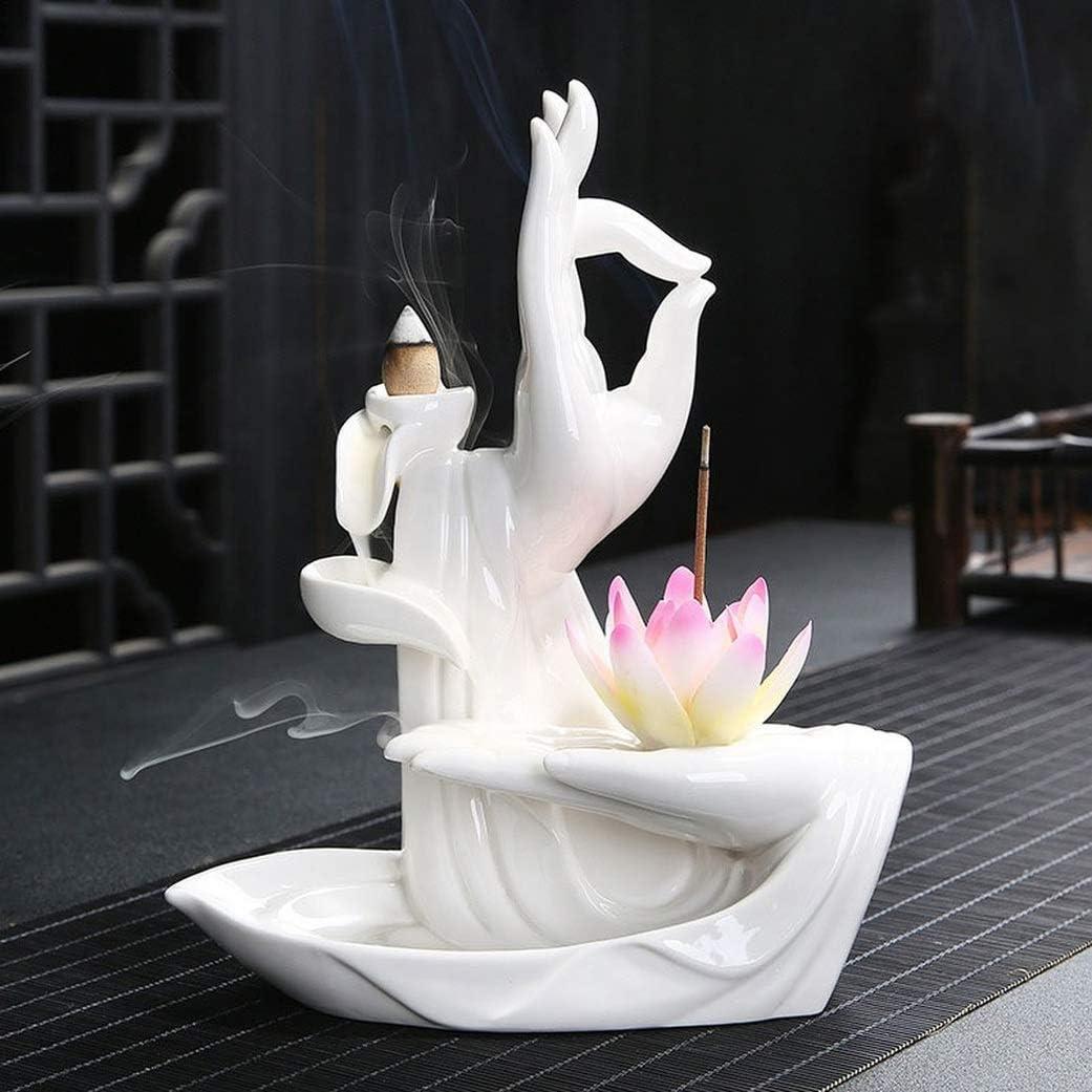 2-Buffalo Chinese Style Ceramic Censer Smoke Backflow Incense Cone Holder Sticks Buddhist Home Decoration