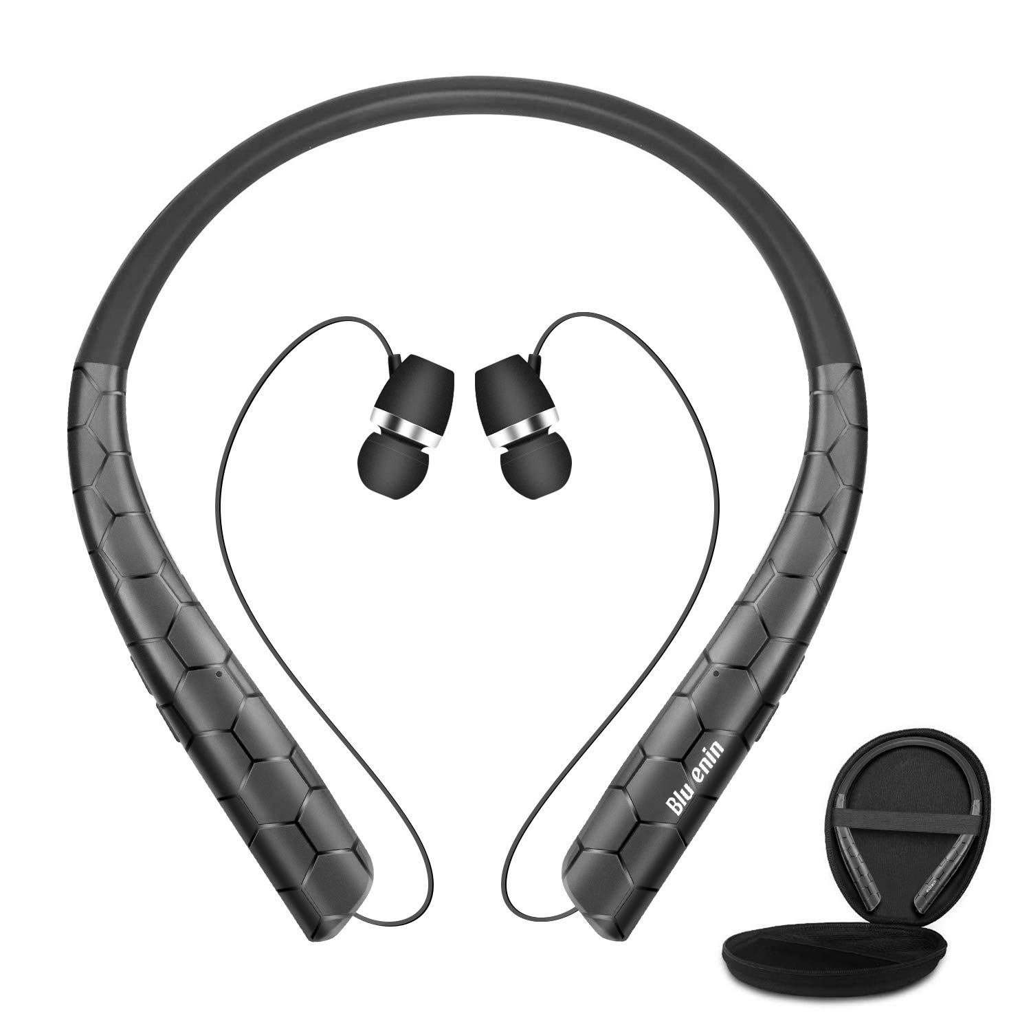 Bluenin Bluetooth Headphones with Carrying Case, Bluetooth 5.0 Wireless Neckband Headset with Retractable Earbuds,16 Hrs Playtime Sports Sweatproof Noise Cancelling Earphones with Mic Black