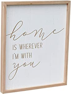 Parisloft Home is Wherever I'm with You Engraved Wood Wall Sign, Wall Decor Sign with Inspirational Quote, Farmhouse Home Decor