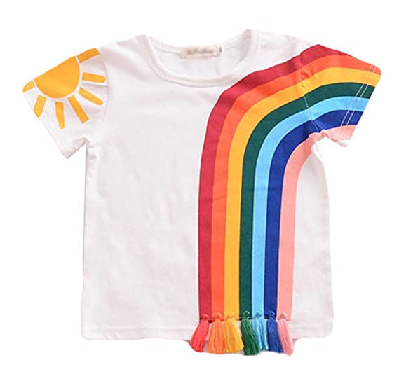 b02357bf4 Amazon.com: LOOLY Unisex Baby Girls Boys Rainbow Tassel T Shirt: Clothing