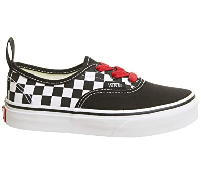Vans Kids K Authentic Elastic LACE Checkerboard Black RED White Size 1.5 49adae01e