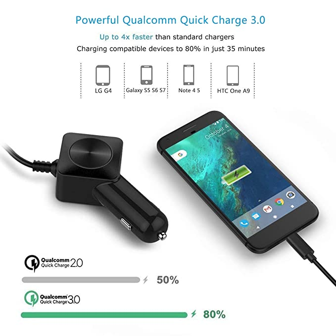 Fast Car Charger for Samsung S7 S6, VOGEK Dual Car Charger Adapter with Built-in Quick Charge 3.0 Micro USB Cable for Samsung Galaxy S7/S6/S5, S7 ...