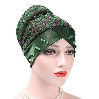 9af10d5b7a1 Kingko ® Women s Casual Pearl Muslim Stripe Ruffle Stretch Turban Hat Chemo  Cap Hair Loss Head