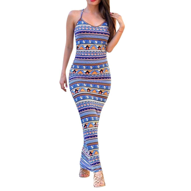 Frauen Kleid,Xinan Bandage lange Frauen Condole Gurt-Kleid-Partei-Druck-Kleid