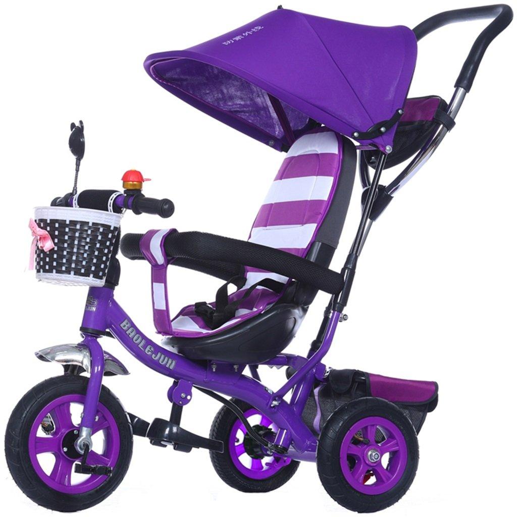 KANGR-子ども用自転車 多機能4-in-1チャイルド三輪車キッドトロリープッシュハンドルステーラー自転車折り畳み式抗UV日よけ  1-3-6歳の少年少女と赤ちゃんのおもちゃ ブレーキ付3輪バイク パープル ( 色 : C型 cがた ) B07BTXLCQDC型 cがた