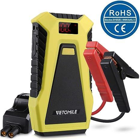 5 V 2.1A // 1.0A VETOMILE Jump Starter 12V 12000 mAh ,Batteria Esterna con Doppie Porte USB Booster 500A Avviatore di Emergenza per Auto Fino a Motore 3.0L Gas,2.0L Diesel