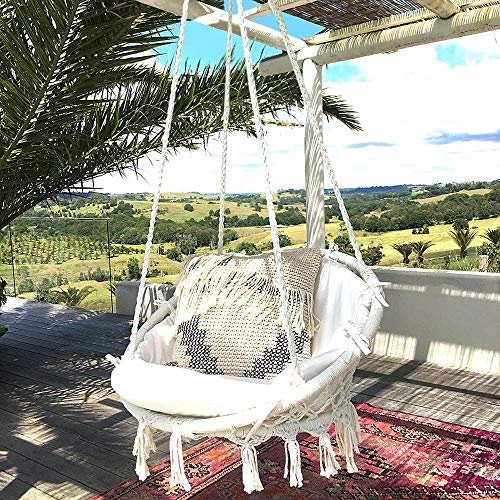 Hammock Chair Macrame Swing 265 Pound Capacity Handmade Knitted Hanging Swing Chair for Indoor/Outdoor Home Patio Deck Yard Garden Reading Leisure Lounging ()