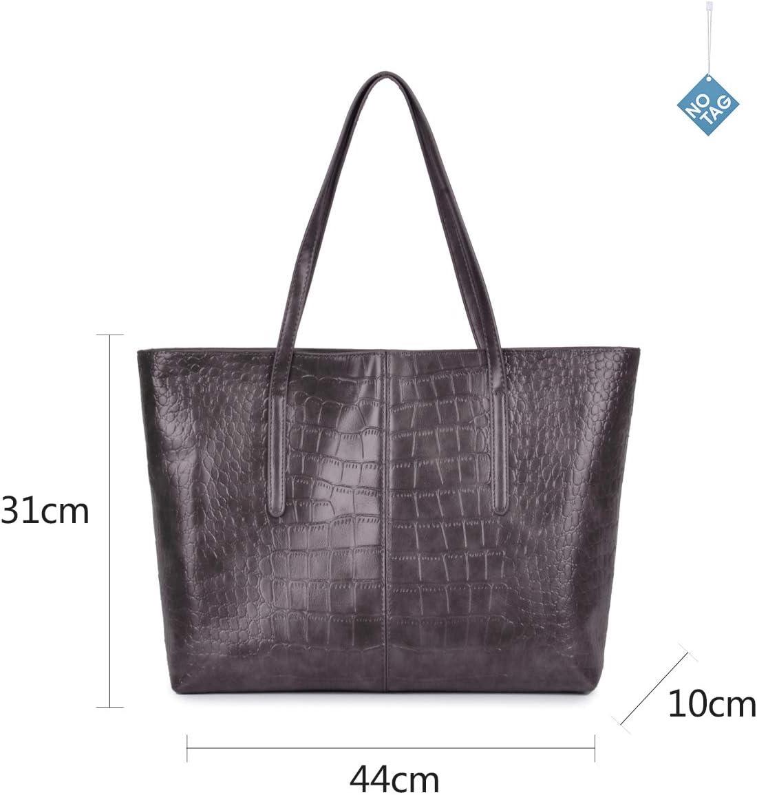 NOTAG Sac Cabas Femme Grande Capacit/é Sac /à Main en Cuir PU Sac d/Épaule pour Shopping Gris