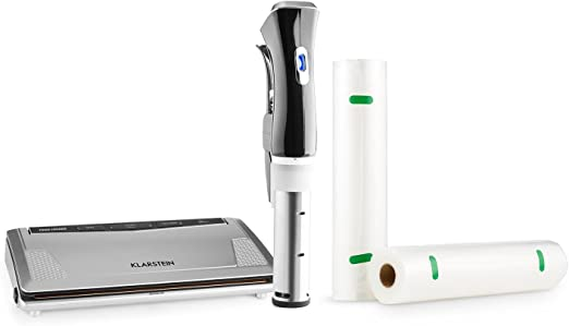 Klarstein Quickstick Sous Vide Set dispositivo de cocción al vacío por inmersión y máquina de envasado al vacío (incluye bolsas de envasado y 2 rollos plásticos para envasado): Amazon.es: Hogar