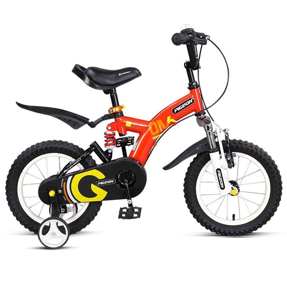 美しい 家ベビーカーを避けるために、前後のダンピング子供用自転車、14/16インチの男の子と女の子3-8歳 (色 : 赤, サイズ さいず : 14 inch) B07CY3PQHY赤 14 inch