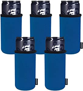Koozie Slim Can Cooler for White Claw, Beer, Seltzer, Energy Drinks   Blank Neoprene Skinny Can Koozie Insulated for Tall Cans   DIY Personalized Gifts for Events, Weddings, Parties (5 pk) Royal Blue