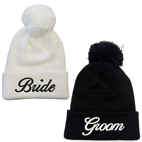 bc879673 Bride & Groom White Black Pompom Beanie Hat