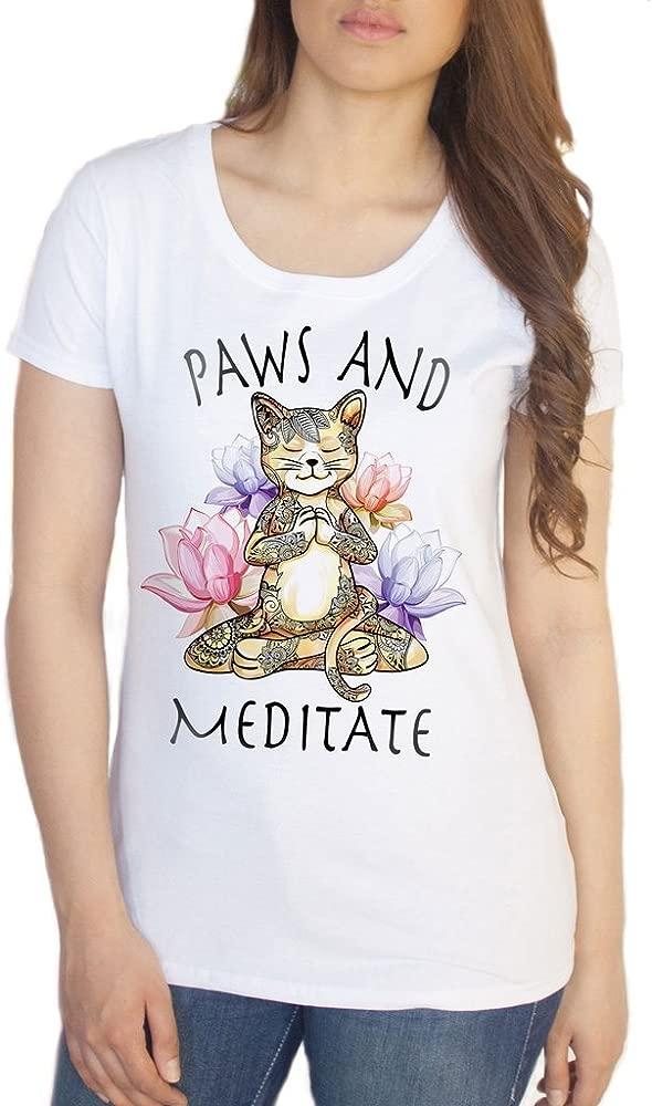 Irony Camiseta de Mujer Yoga Cat Paws y Meditate - Lotus ...