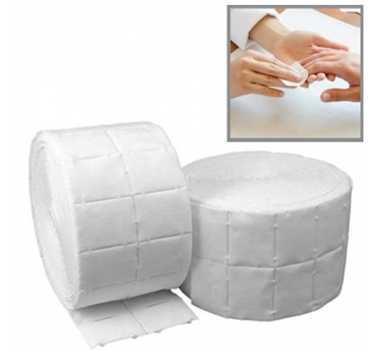 LINT Free Nail Wipes On A Roll UV Gel Acrylic False Nails Polish Remover 1000 (2x 500 Roll) Wipes by eKart Econo Supplies