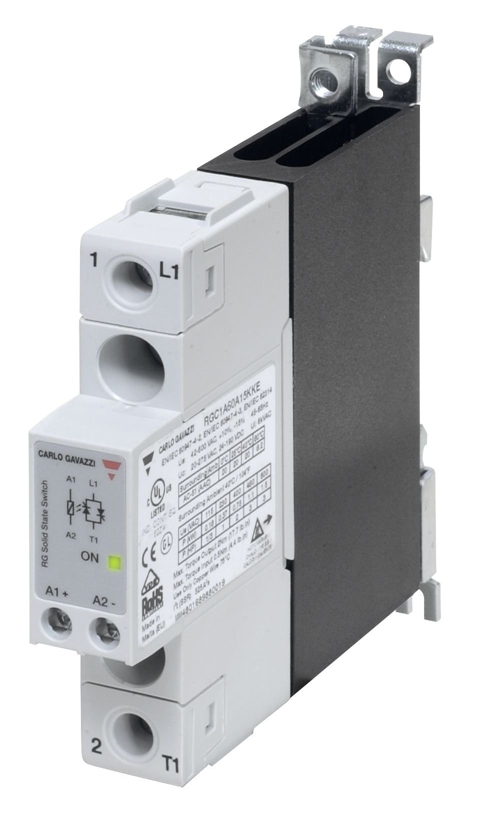CARLO GAVAZZI RGC1A60D15KGU Solid State Relay and Contactor, Slim 17.5 mm Width, Maximum 20 amp AC Switching, Up to 3 hp Rated, 3-32 VDC Control Voltage, 42-600 VAC Switching, 1200 Vp Blocking Voltage, IP20 Cover, Diagnostic LEDs, 9.2 oz. Size, 27 mm Heig
