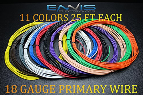 - 18 GAUGE WIRE 275 FT ENNIS ELECTRONICS 25 FT ROLLS PRIMARY REMOTE HOOK UP AWG COPPER CLAD 11 ROLLS