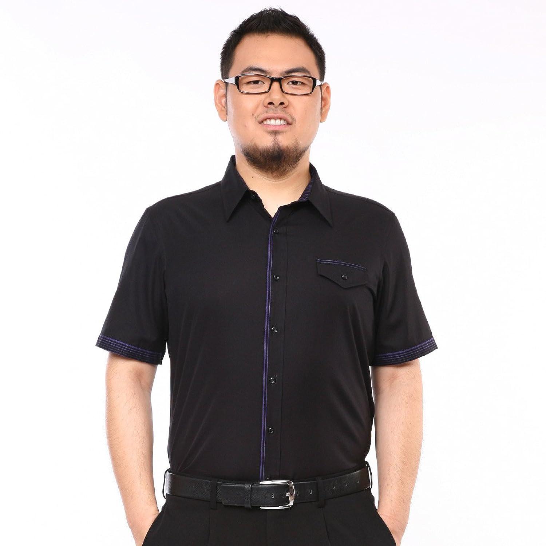 紅邦創衣 2013春夏 黑色口袋加肥大碼男士短袖襯衫/半袖襯衣b圖片
