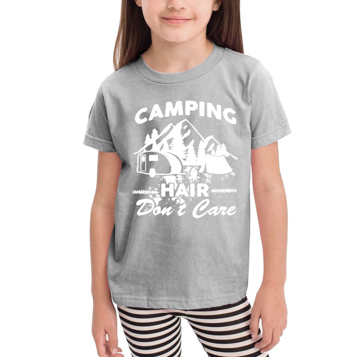 Camping Hair Dont Care Unisex Youths Short Sleeve T-Shirt Kids T-Shirt Tops Black