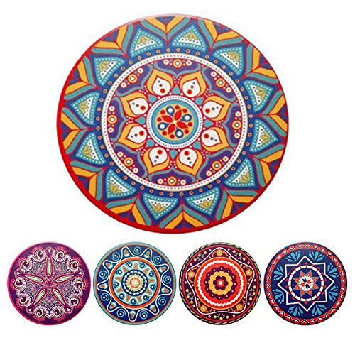 Coasters for Drinks, Homyeet Drink Coasters Absorbent Cork Coasters with Anti-Slide Cork Base,5pcs Ceramic Bar Coaster for Cup Holder, Stone Coasters Set for Housewarming, Home Décor and Party - Slide Cork
