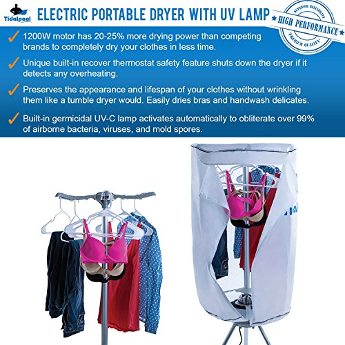 Electric Portable Clothes Dryer – Laundry Drying Rack with High Powered 1200W Heater and Germ Killing UV Light Sanitation – Compact with 22Lb Capacity – Tidalpool Top Deals