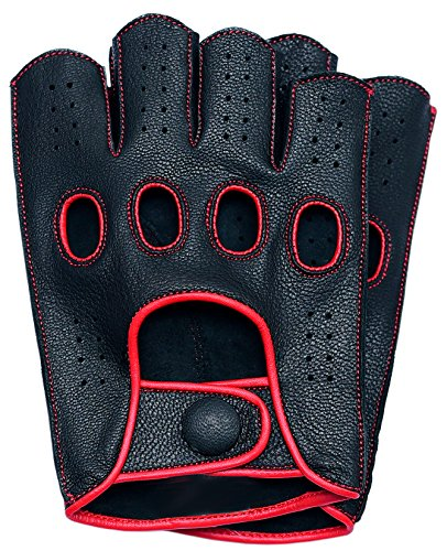- Riparo Women Genuine Leather Reverse Stitched Half-Finger Driving Motorcycle Gloves (7, Black/Red)
