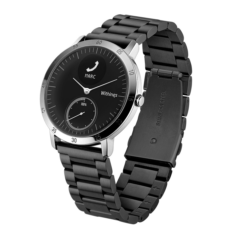 Balerion-Adjustable Solid Stainless Steel Band with Durable Folding Clasp for Wthings Steel HR 40mm verison-Steel Black 40MM