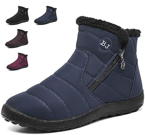 dfa30f6b76c100 Bottes de Neige Femme Filles Impermeables Hiver Fourrure Chaudes Chaussures  Courtes Bottines Talons Plates Boots -