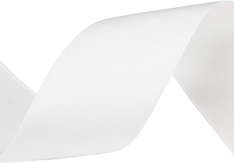 40 mm x 44 m fiocchi nastro di raso per cucito vestiti Nastro di raso artigianato 22 metri pacchi regalo matrimonio bianco