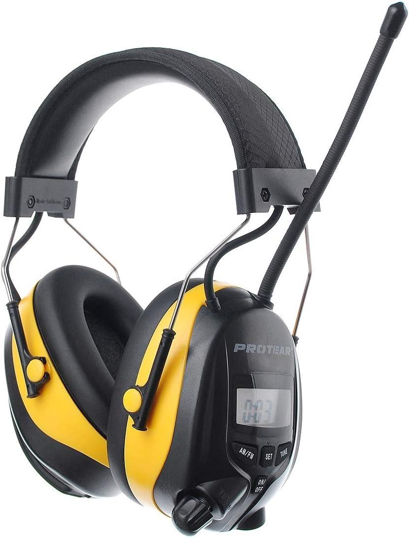 AM NRR 25dB Casque de r/éduction de bruit radio FM Protear Ear Defenders avec prise casque st/ér/éo pour le tournage et le travail