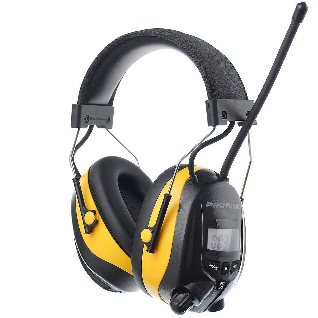 PROTEAR AM FM Radio Casque de Protection auditive de s/écurit/é avec MP3 Compatible SNR 30 DB Casque /électronique pour Tondeuse /à Gazon
