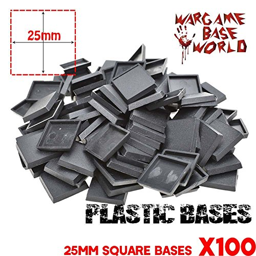 (25mm Square Plastic Bases for Table Games Plastic Bases for Gaming Miniatures and Table Games 100Pcs )