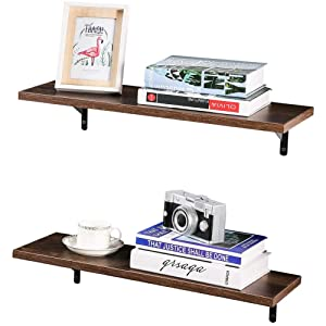 SUPERJARE Wall Mounted Floating Shelves, Set of 2, Display Ledge, Storage Rack for Room/Kitchen/Office - Dark Brown