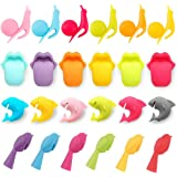 REAMTOP WineGlass Markers Mini Shark and Snail Shape Tea Bag Holder Silicone SuctionCups Tongue Chickadee Reusable Glass Identifiers WineAccessories 24pcs 4 Sets