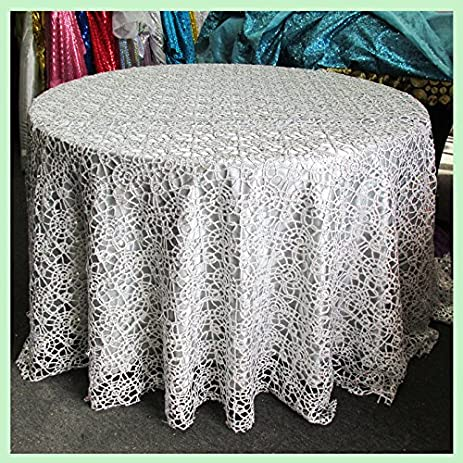 Beau Tablecloth Round 90 Inches Chemical Lace, Silver, For Wedding And Party  Supplies, Tablecloth