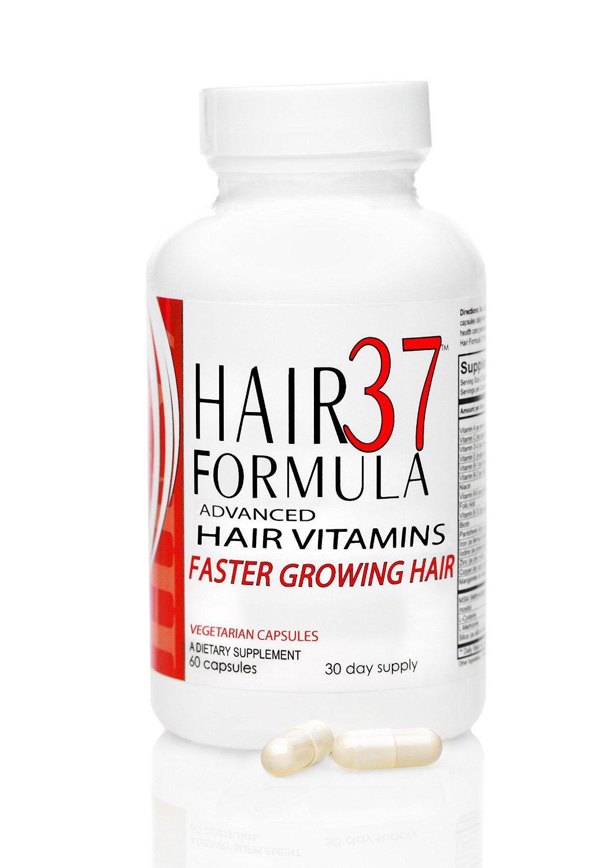Hair Formula 37 Advanced Hair Vitamins with Best Biotin Dose (1 month supply) Hair Supplements for Fast Hair Growth Hair Loss Thinning