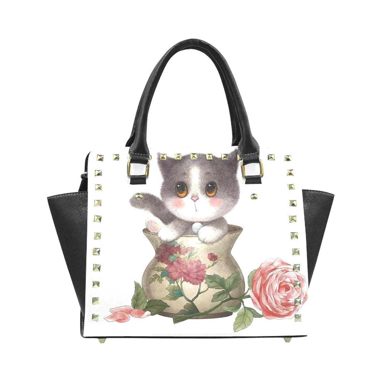 Cute Cat and Rose PU Leahter Wings Rivet Shoulder Handbag For Fashion Women/Girls