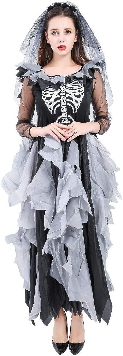 Forever Young Disfraz de Novia Zombi Adultos, Esqueleto de Día de los Muertos, Disfraz de Halloween