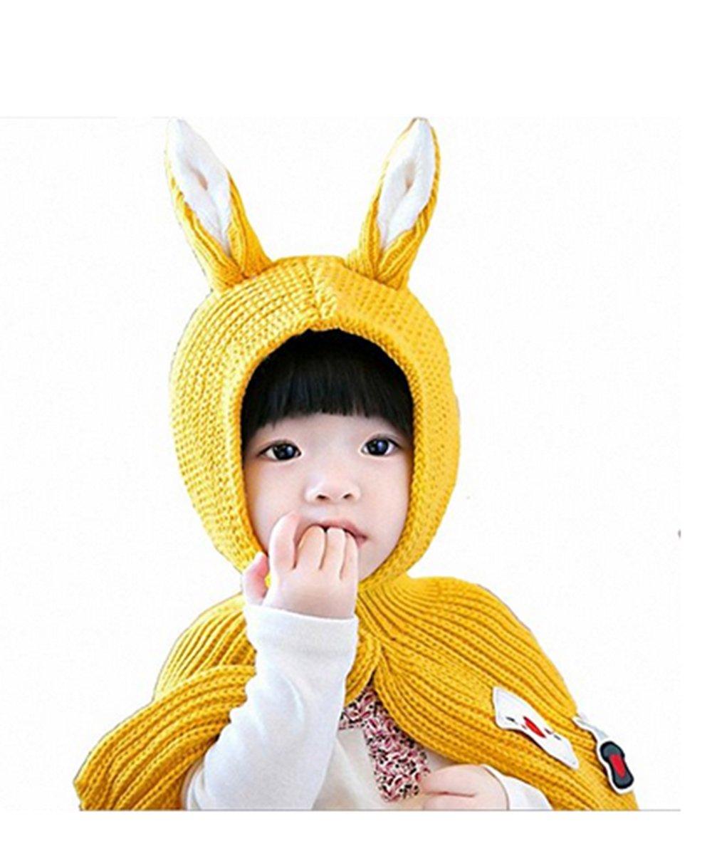 SevenPanda Enfants Casquette Manteau Tricot Capuche Cagoule hiver en laine tricotés chapeaux bébé des Filles Garçons Filles Bébé Cagoule En Laine Caude écharpe Casquettes Chapeaux Automne-hiver - Rouge YingErMao-MaoXian-Hong