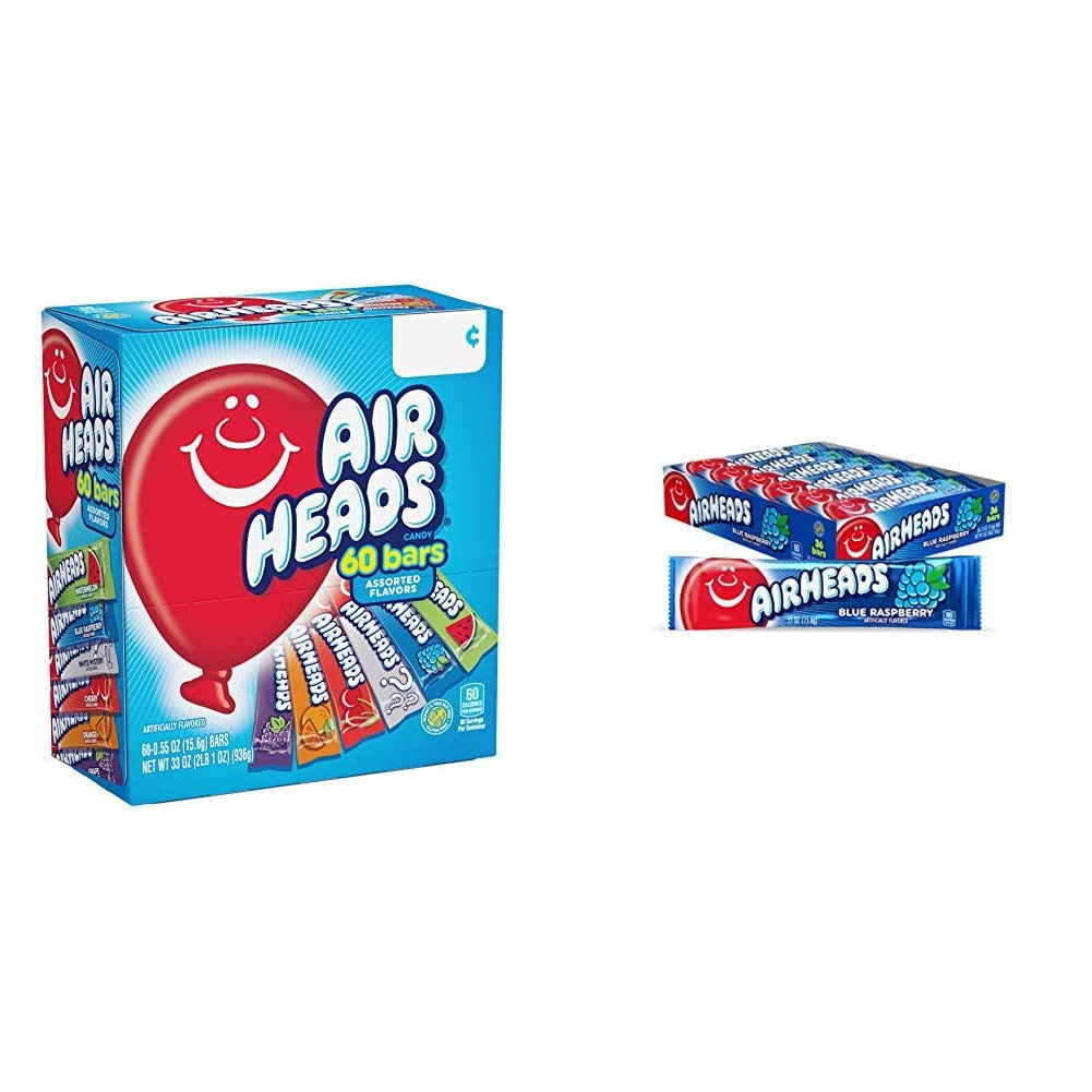 Airheads Candy Bars, Variety Bulk Box, Chewy Full Size Fruit Taffy, Gifts, 60 Count & Airheads Candy, Individually Wrapped Full Size Bars, Blue Raspberry, Bulk Taffy, Non Melting, 0.55oz (Pack of 36)