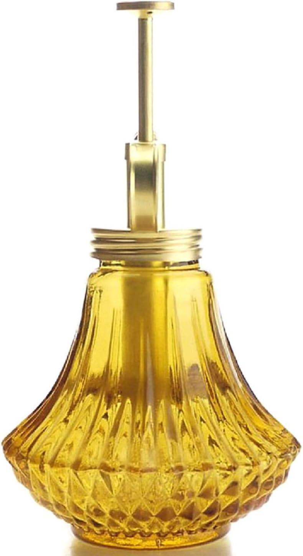 Amber Color Glass Bottle /& Brass Sprayer Purism Style Plant Mister Matt Gold