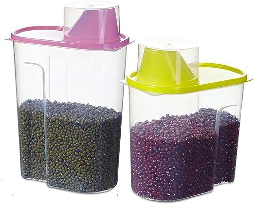Recipiente de almacenamiento de cereales 4L recipientes de almacenamiento herm/éticos de pl/ástico adecuados para cereales juego de 3 piezas Dispensadores de cereales alimentos para mascotas