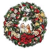 Jurgen Scholz Lighted Always In Bloom Christmas Wreath With Kitten Art by The Bradford Exchange