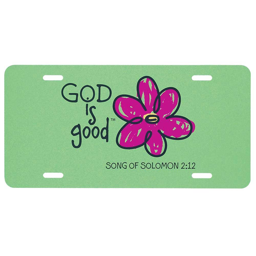 God is Good Flower Green 12 x 6 Inch Metal License Plate Dicksons