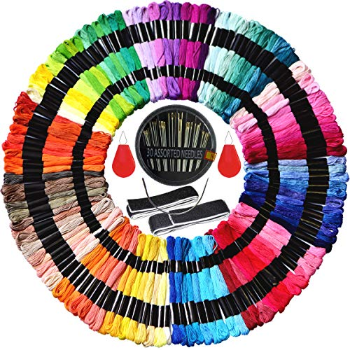 - Embroidery Floss & Embroidery Thread kit- Cross Stitch Threads - Friendship Bracelets Floss - Crafts Floss -100%Long-StapleCotton-100 skeins Per Pack and Free Set of 35 Pcs Embroidery Tools Kits