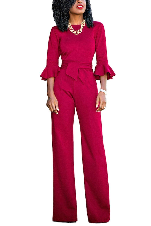 YACUN Women's 3/4 Sleeve Bodycon Jumpsuit Wide Leg Office Romper Pants CAMCH5389