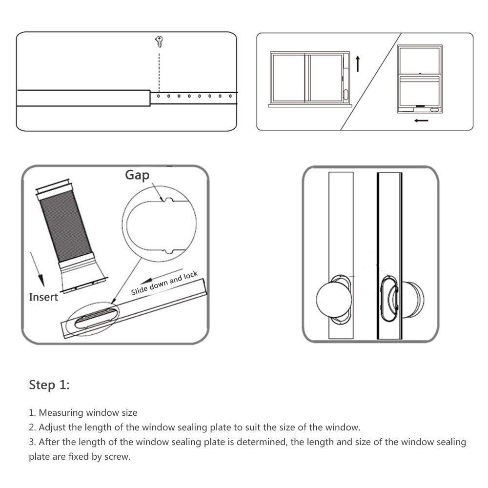 Baiwka Piastra del Kit Finestra 3PCS Adattatore Finestra Condizionatore Portatile e Asciugabiancheria Piastra del Kit Regolabile Facile da installare 6inch per condizionatore dAria Portatile