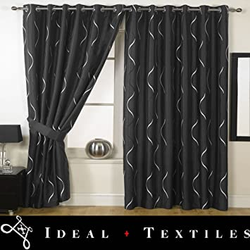 Kitchen Curtains black and silver kitchen curtains : Black Silver Curtains - Embroidered Faux Waves - 90'' x 108 ...