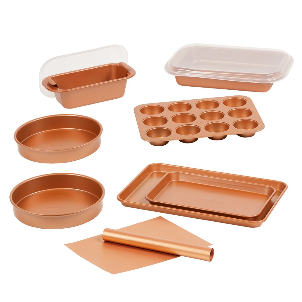 Copper Chef 12 Piece Elite Baking Pan Set- 9 Inch Cake Pan x 2, BBQ Grill Mat, Baking Mat, Baking Pan Crisper Tray with Lid, Cookie Sheet x 2, Muffin Pan, Loaf Pan with Lid Tristar Products Inc